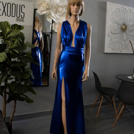Royal blue metallic infinity dress