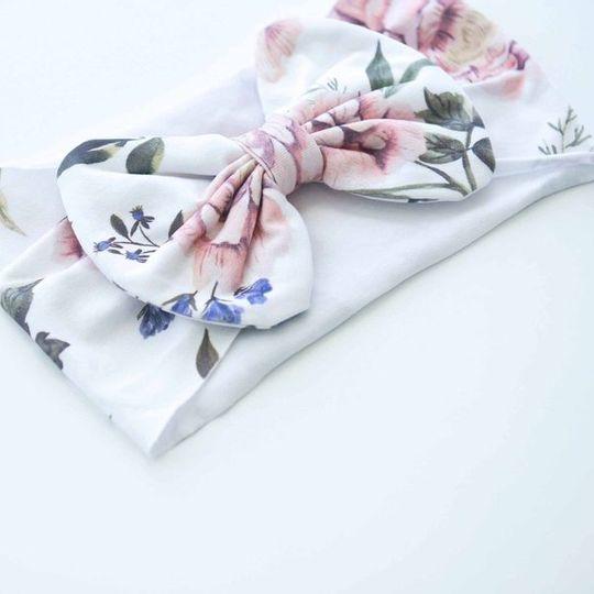 Botanical Bow Headbands - White & Purple