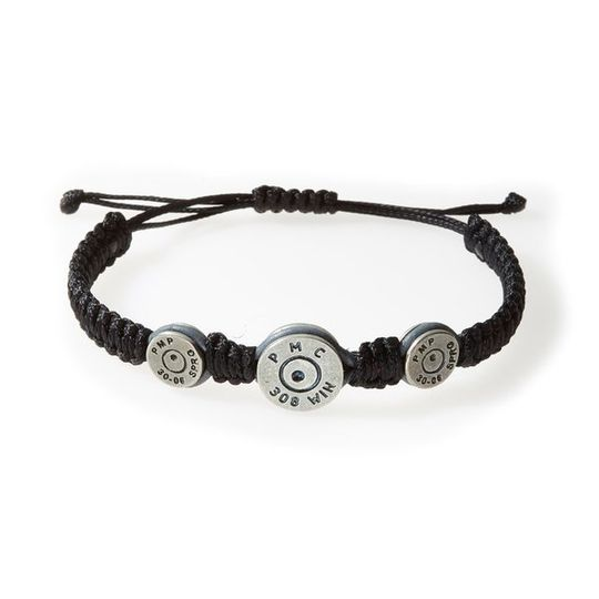 MAVERICK Macrame & leather Bracelet with Bullets Black thread - Grey leather