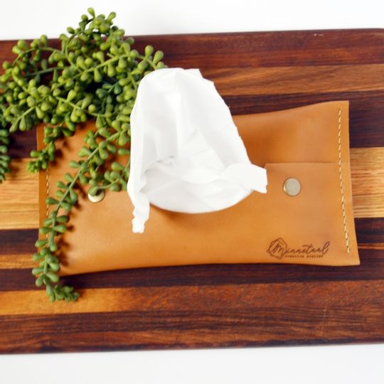 Pop-up Leather Tissue Holder
