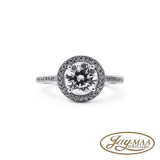 Sterling Silver Cubic Zirconia Ring - Achevée Halo