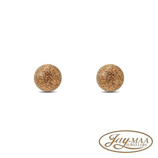 9ct Yellow Gold Stud Earrings - Snowball Sandblasted