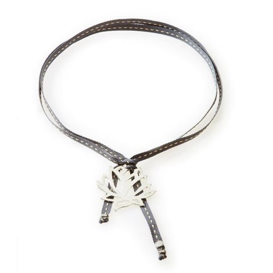 FEISTY Ribbon Necklace & Choker Protea/Lotus Flower - Dark Grey