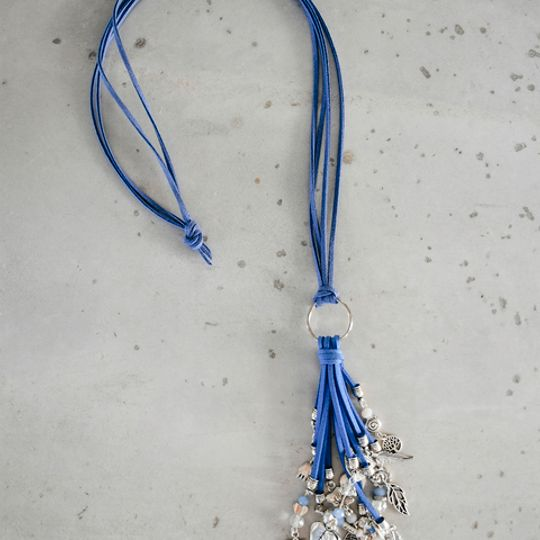 Long Tassel Necklace - Light Blues