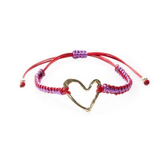 COOL Macrame Bracelet Heart - Red/Purple