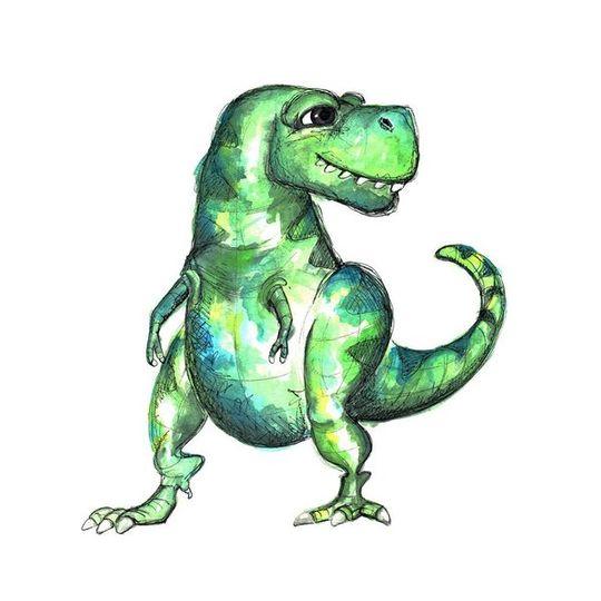 Watercolour T-Rex Decal
