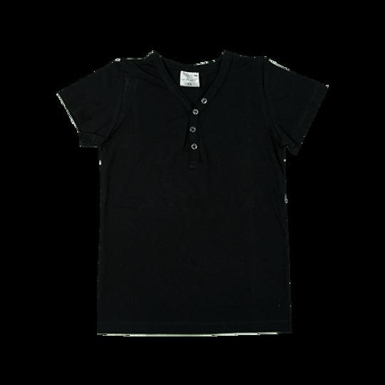 Kids Short Sleeve - Buttons Black