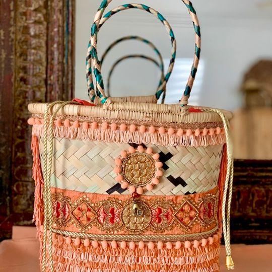 Gootchi Basket Tote Handbag/Coral, Peach, Gold