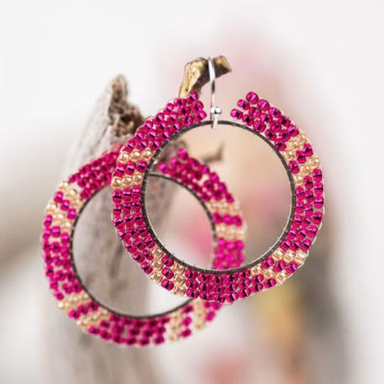 Round Hoop Miyuki Seed Beaded Earrings