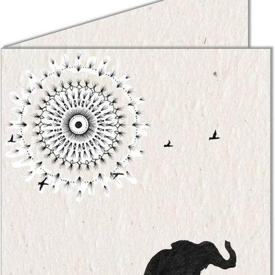 Greeting Card | Mandala Sun & Elephants