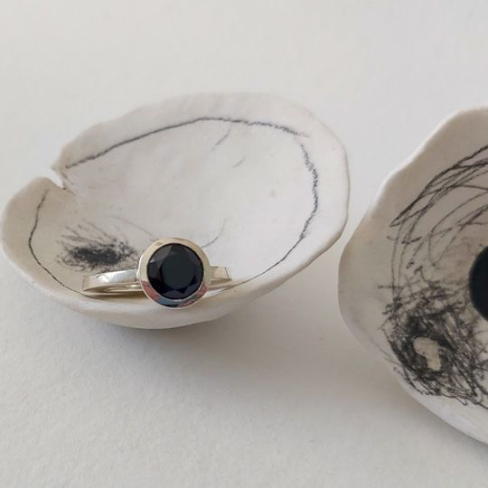 black spinel ring silver
