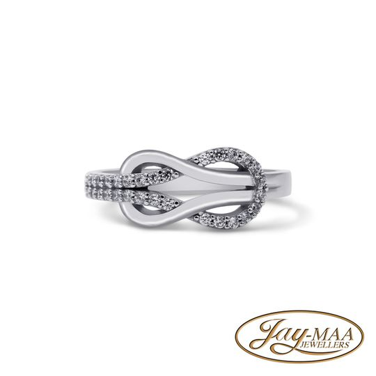 9ct White Gold Cubic Zirconia - Infinity Buckle