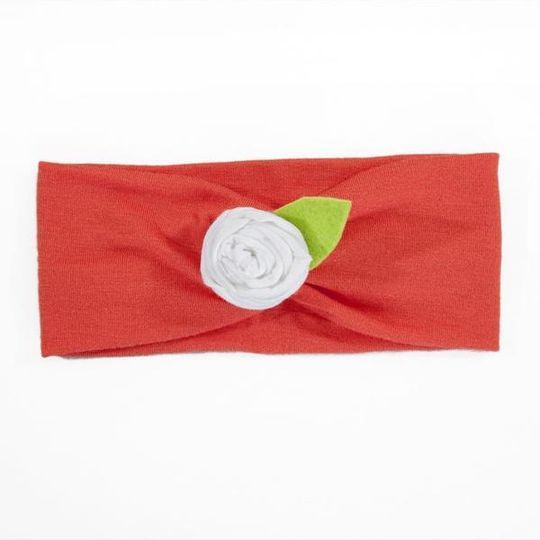 Headband / Girls - Tangerine with White Flower - M0044