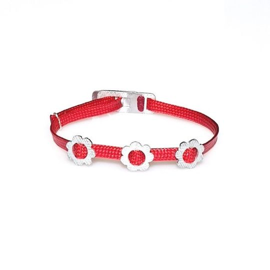 ZESTY Waxed Ribbon Bracelet Flowers - Red