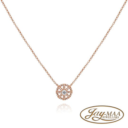 18ct Rose Gold Diamond Necklace with Pendant - The Compass