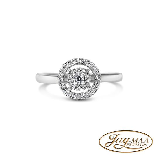 Sterling Silver Cubic Zirconia Ring - Double Halo