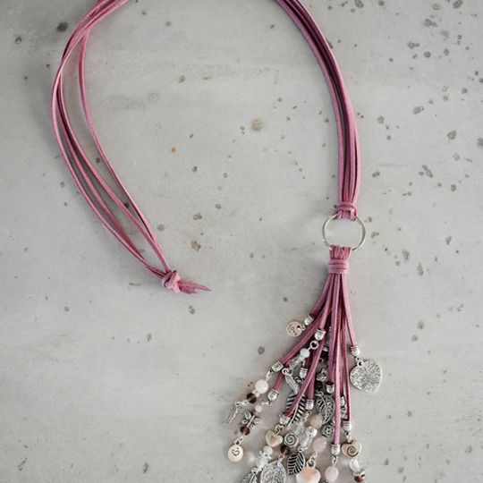 Long Tassel Necklace - Pinks