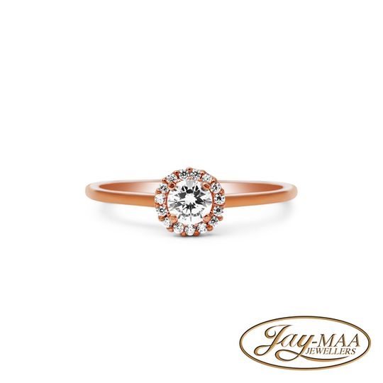9ct Rose Gold Cubic Zirconia Halo Ring