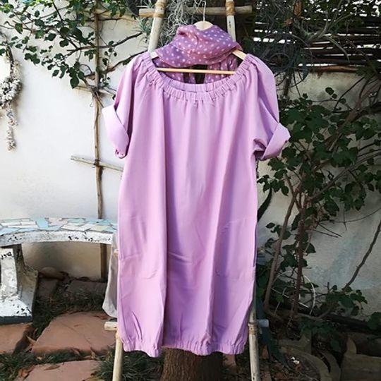 LINEN BLEND BUBBLE DRESS