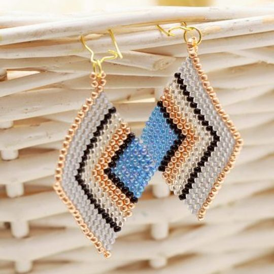 Handmade blue, rose gold & white diamond shaped peyote stitch earrings