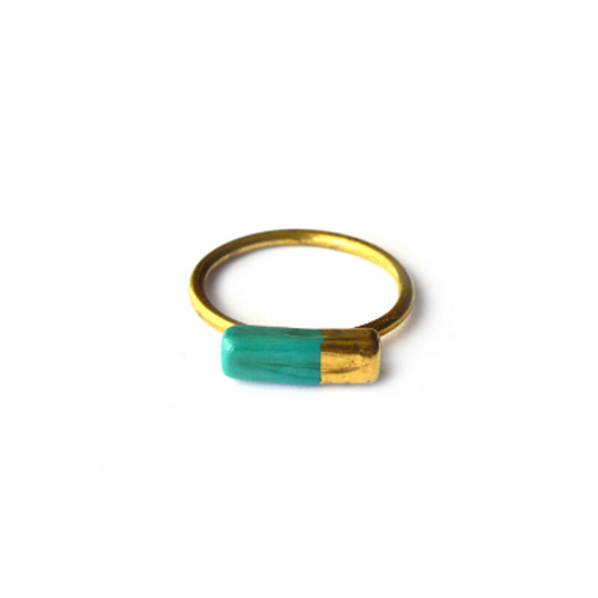 Glass Bar & Gold Ring