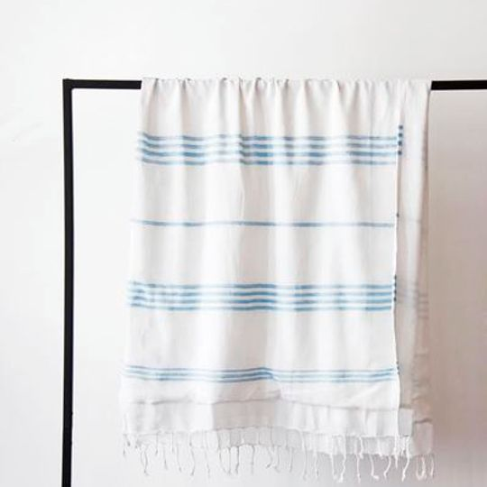 White with blue stripes