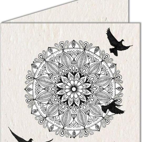 Greeting Card | Mandala & Birds in flight