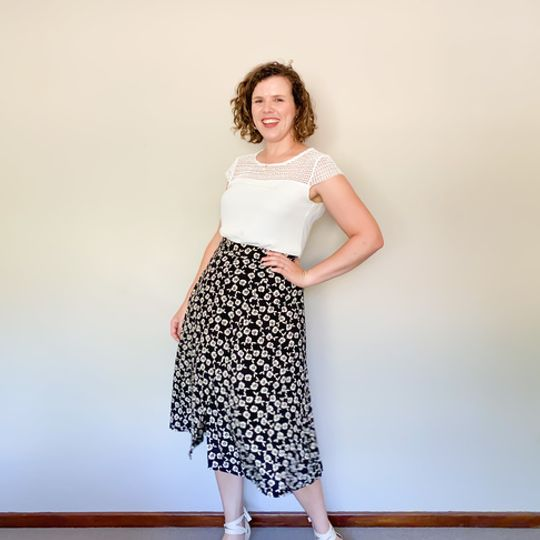 Midi Wrap Skirt - Black Floral
