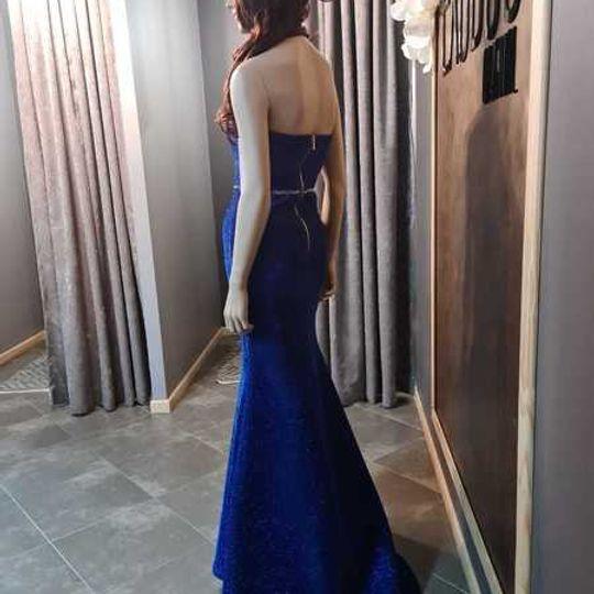ROYAL BLUE FOIL DRESS