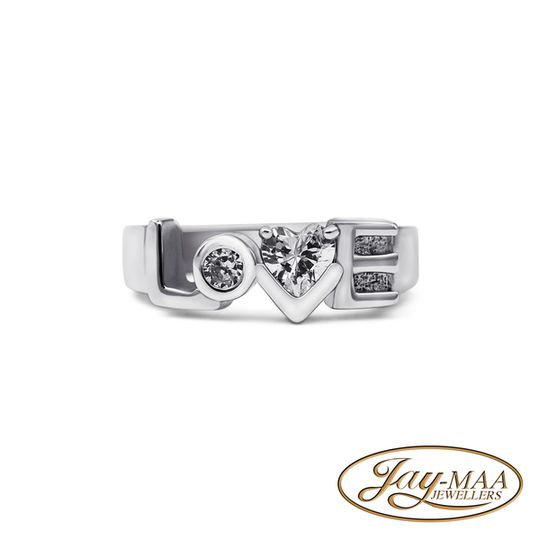 Sterling Silver Cubic Zirconia Ring - LOVE