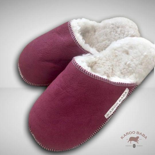 Sheepskin slip-on slippers - pink