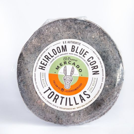 El Burro Heirloom Blue Corn Tortillas 6 pack