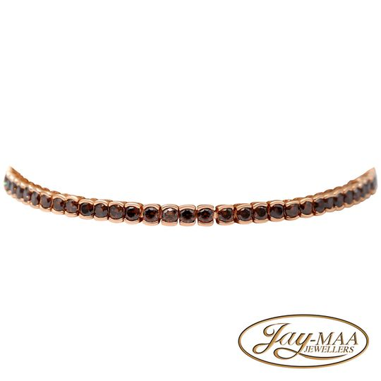 Sterling Silver Cubic Zirconia Rose Gold Colour Bracelet