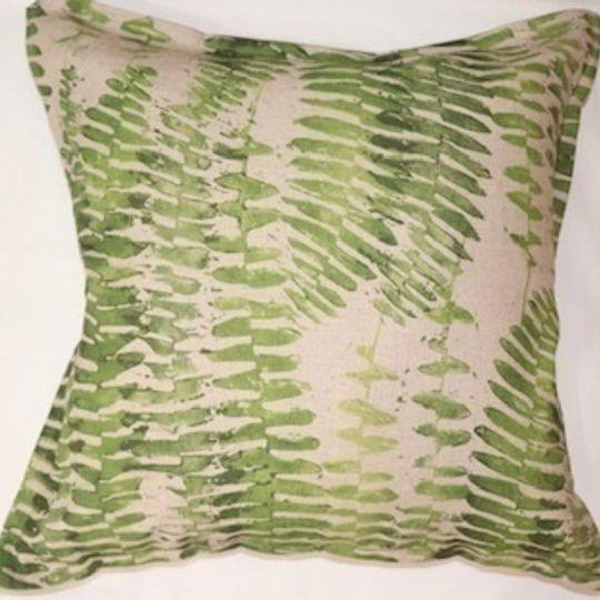Green fern cushion cover