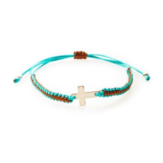 COOL Macrame Bracelet Cross - Teal/Brown