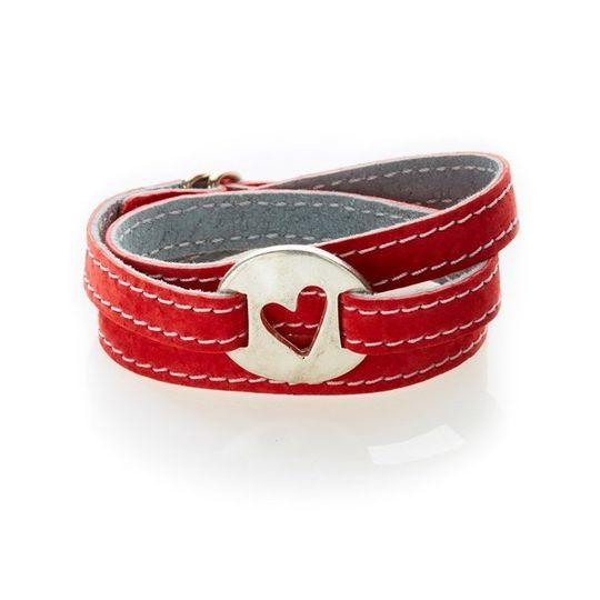 BOLD Reversible suede Bracelet & Choker Heart Cut Out - Red/Dark Grey