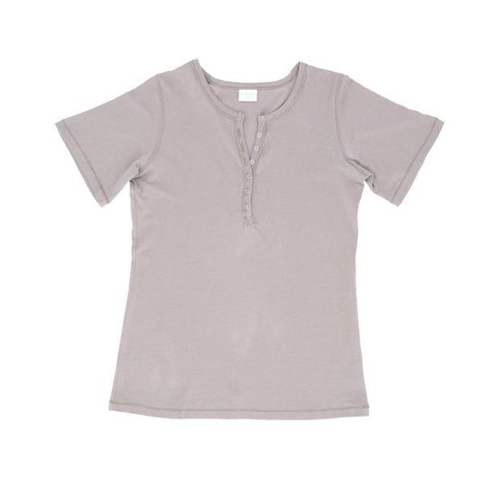 Ladies Short Sleeve - Buttons Grey