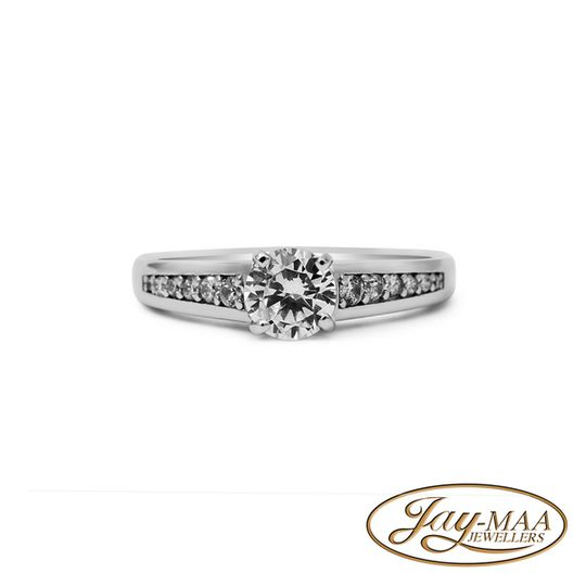 Sterling Silver Cubic Zirconia Ring - Chanel Solitaire