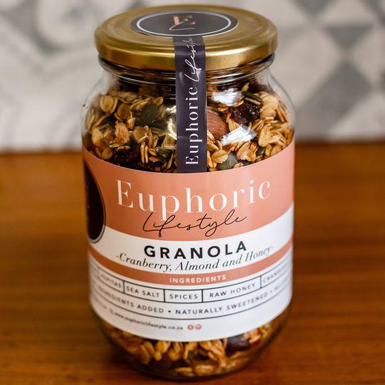 Euphoric Lifestyle Cranberry & Almond Granola 500g jar