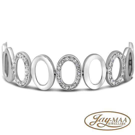 Sterling Silver Cubic Zirconia Oval Shape Bracelet