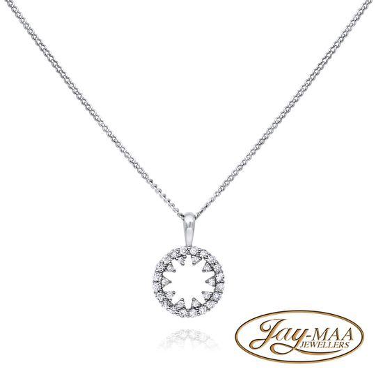 9ct White Gold Diamond Pendant & Chain - Snowflake Circle of Life