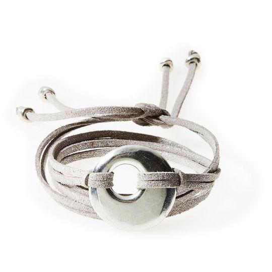FIERCE Versatile faux suede Bracelet, Necklace & Choker Round Disk - Silver S
