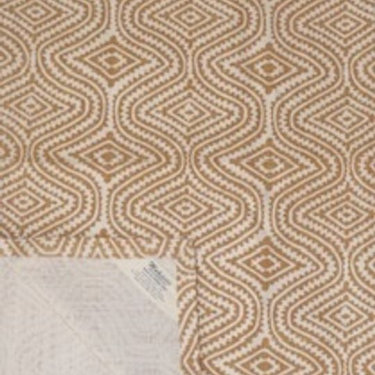 wheat yellow blockprint on natural cotton background