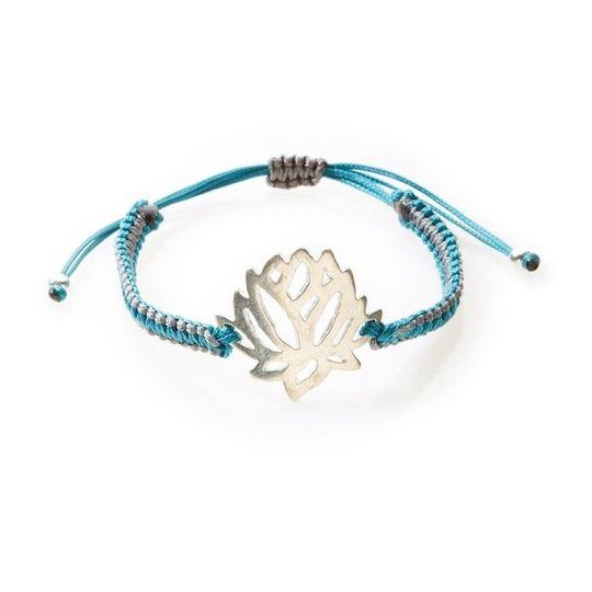 COOL Macrame Bracelet Protea/Lotus Flower - Emerald/Dark Grey