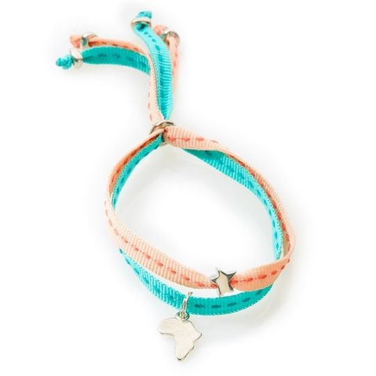 CHEEKY Bracelet with ribbons Africa - Peach/Emerald