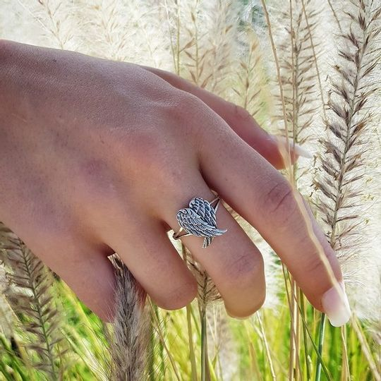 Sterling silver Angle wings ring