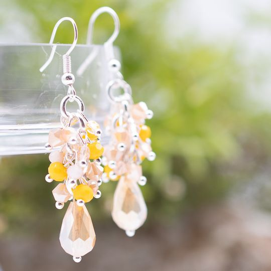 Long Crystal Cluster Earrings