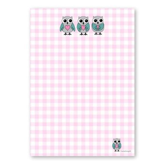 A6 Notebook - Owls & Pink Check
