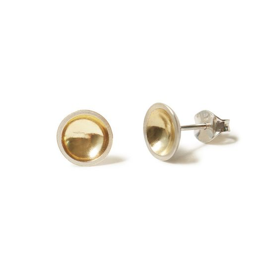 Silver & gold domed earrings