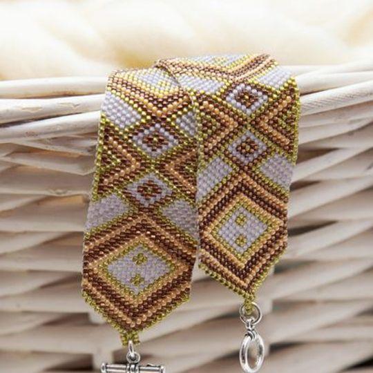 Bronze Diamond Peyote Bracelet